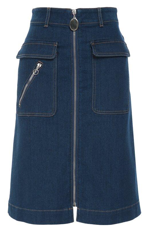 Джинсовая юбка на молнии с накладными карманами Stella McCartneyЮбки<br>Стелла Маккартни включила в коллекцию сезона осень-зима 2016 года синюю джинсовую юбку с большими накладными карманами с клапанами. Модель, застегивающаяся на длинную молнию спереди, сшита из эластичного органического хлопка. Советуем носить с бежевым пуловером, белыми ботинками и серой сумкой.<br><br>Российский размер RU: 44<br>Пол: Женский<br>Возраст: Взрослый<br>Размер производителя vendor: 42<br>Материал: Хлопок: 92%; Эластомультиэстер: 6%; Эластан: 2%;<br>Цвет: Синий