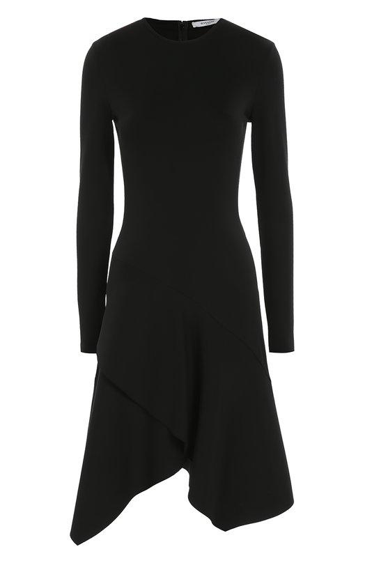 Приталенное платье асимметричного кроя с длинным рукавом GivenchyПлатья<br>Приталенное платье с асимметричным подолом и длинным рукавом вошло в осенне-зимнюю коллекцию марки, основанной Юбером де Живанши. Модель черного цвета сшита из мягкого текстиля с добавлением шелка. Нам нравится сочетать с ботинками и сумкой в тон.<br><br>Российский размер RU: 50<br>Пол: Женский<br>Возраст: Взрослый<br>Размер производителя vendor: 44<br>Материал: Вискоза: 96%; Ацетат: 71%; Эластан: 4%; Шелк: 29%;<br>Цвет: Черный