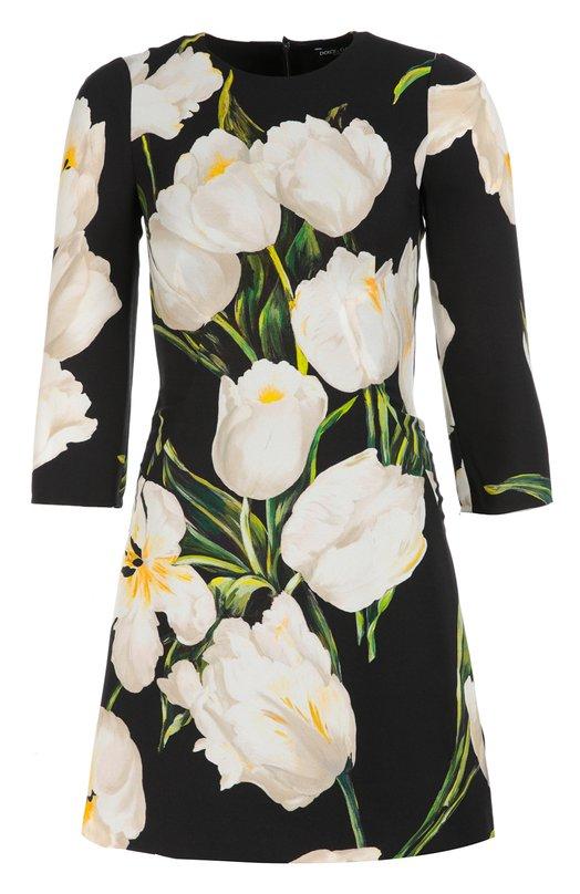 Приталенное мини-платье с укороченным рукавом и цветочным принтом Dolce &amp; GabbanaПлатья<br>&amp;bull; Москва 1 200 EUR (84 000 RUB)&amp;bull; Милан 1 350 EUR&amp;bull; Лондон 1 333 EUR (1 200 GBP)&amp;bull; Дубай 1 862 EUR (7 540 AED)Приталенное платье с рукавом 3/4 декорировано контрастным принтом в виде тюльпанов, характерным для осенне-зимней коллекции 2016 года. Для создания модели Доменико Дольче и Стефано Габбана выбрали плотный и мягкий текстиль. Наши стилисты советуют сочетать со светлыми туфлями и сумкой.<br><br>Российский размер RU: 46<br>Пол: Женский<br>Возраст: Взрослый<br>Размер производителя vendor: 44<br>Материал: Подкладка-шелк: 94%; Подкладка-эластан: 6%; Вискоза: 100%;<br>Цвет: Белый