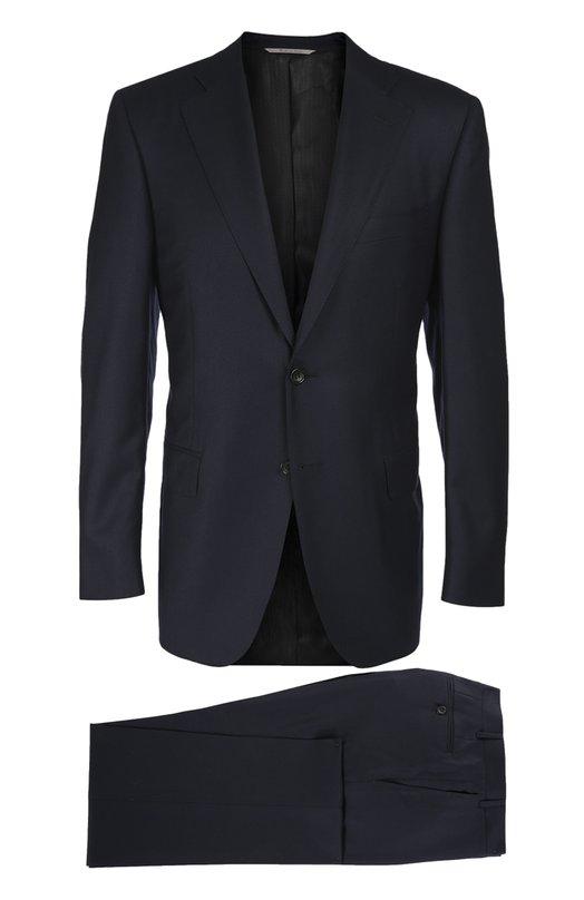 Шерстяной приталенный костюм CanaliКостюмы<br>Для создания темно-синего костюма из осенне-зимней коллекции 2016 года использована мягкая шерсть с добавлением шелковых волокон. Приталенный пиджак с широкими лацканами застегивается на две пуговицы. Брюки со стрелками дополнены четырьмя карманами. Советуем носить с белой рубашкой и серым галстуком.<br><br>Российский размер RU: 50<br>Пол: Мужской<br>Возраст: Взрослый<br>Размер производителя vendor: 48-R<br>Материал: Шерсть: 85%; Шелк: 15%; Подкладка-купра: 100%;<br>Цвет: Темно-синий
