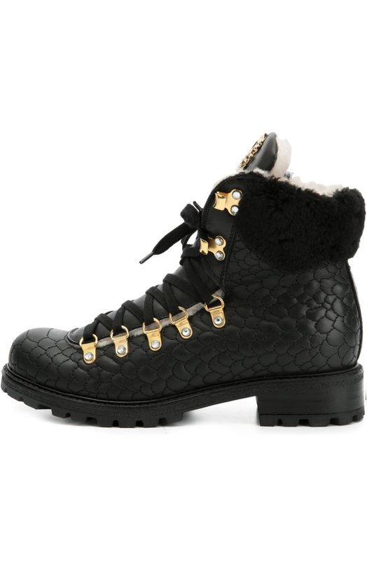 Кожаные ботинки с декором Roberto Cavalli 44931/36-40