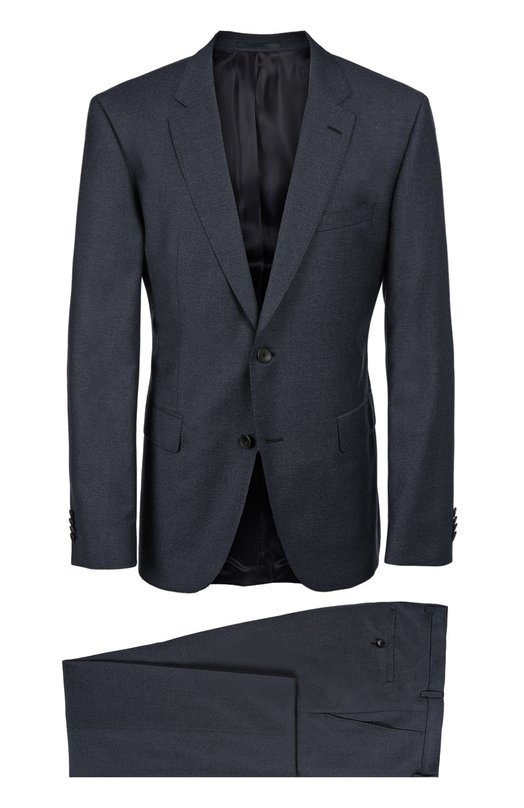 Приталенный костюм из фактурной шерсти BOSSКостюмы<br>Мастера бренда, основанного Хуго Фердинандом Боссом, выполнили синий костюм с прямыми брюками из плотной фактурной шерсти. Модель вошла в коллекцию сезона осень-зима 2016 года. Рекомендуем носить с белой рубашкой и бордовым галстуком, а также черными дерби.<br><br>Российский размер RU: 42<br>Пол: Мужской<br>Возраст: Взрослый<br>Размер производителя vendor: 42<br>Материал: Шерсть: 100%;<br>Цвет: Синий