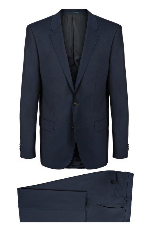 Приталенный шерстяной костюм BOSSКостюмы<br>Синий костюм вошел в осенне-зимнюю коллекцию 2016 года. Приталенный пиджак и брюки прямого кроя выполнены из гладкой шерсти. Нам нравится сочетать с белой рубашкой и голубым галстуком, а также с черными дерби.<br><br>Российский размер RU: 44<br>Пол: Мужской<br>Возраст: Взрослый<br>Размер производителя vendor: 44<br>Материал: Шерсть: 100%;<br>Цвет: Темно-синий