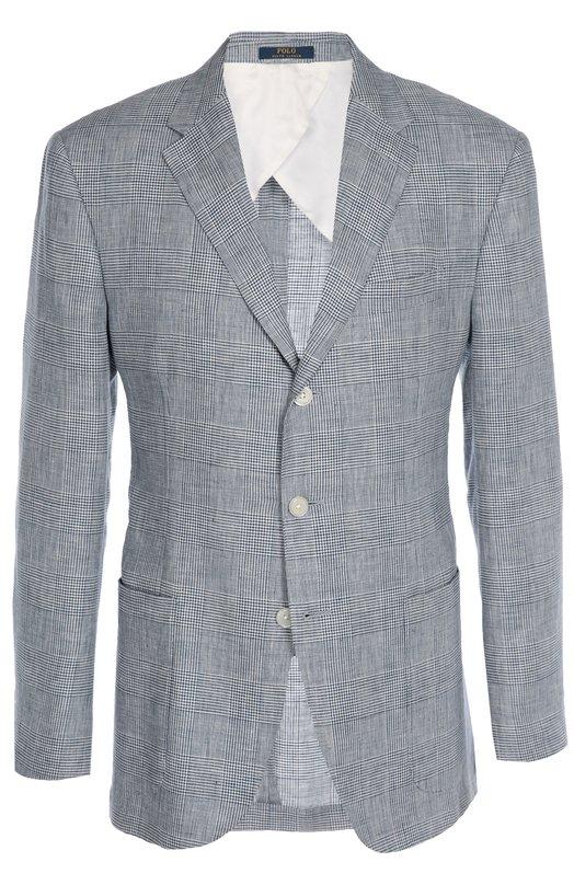Льняной пиджак в клетку Prince of Wales Polo Ralph LaurenПиджаки<br>Ральф Лорен выбрал для производства серого блейзера тонкий лен в клетку Prince of Wales. Модель из осенне-зимней коллекции 2016 года дополнена боковыми накладными карманами. Рекомендуем носить с брюками из аналогичного материала, белыми рубашкой и кедами.<br><br>Российский размер RU: 52<br>Пол: Мужской<br>Возраст: Взрослый<br>Размер производителя vendor: 42-R<br>Материал: Лен: 100%;<br>Цвет: Серый
