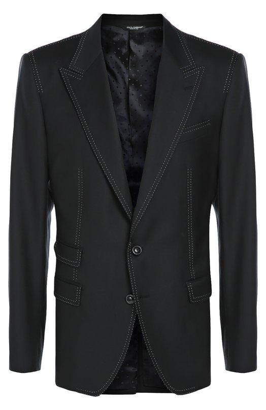 Шерстяной пиджак с контрастной отстрочкой Dolce &amp; GabbanaПиджаки<br>Доменико Дольче и Стефано Габбана включили в коллекцию сезона осень-зима 2016 года темно-синий пиджак из гладкой плотной шерсти с матовым блеском. Модель декорирована двойной контрастной строчкой. Нам нравится носить с темными рубашкой, брюками, дерби.<br><br>Российский размер RU: 50<br>Пол: Мужской<br>Возраст: Взрослый<br>Размер производителя vendor: 48C<br>Материал: Шерсть: 100%; Подкладка-вискоза: 100%;<br>Цвет: Темно-синий