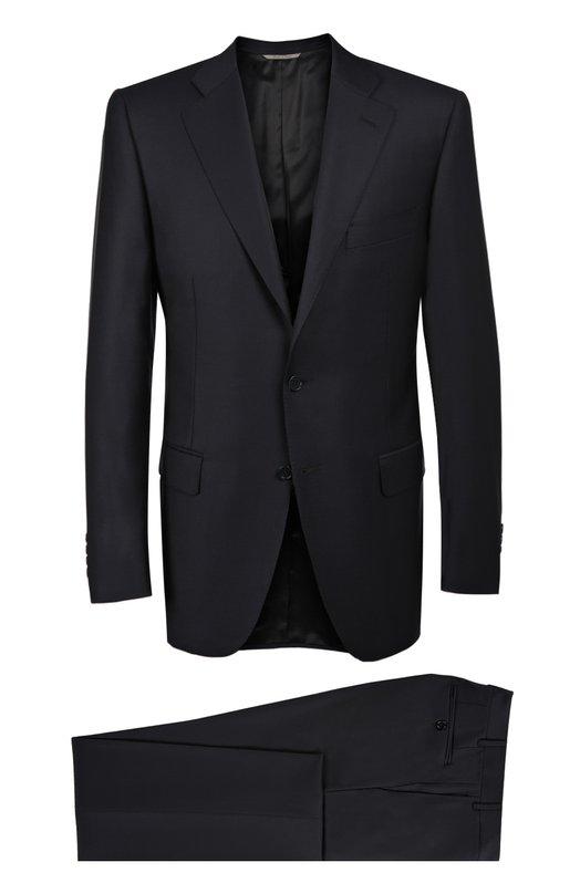 Шерстяной приталенный костюм CanaliКостюмы<br>Мастера бренда использовали для производства костюма с брюками прямого кроя тонкую гладкую шерсть. Приталенный пиджак дополнен карманами. Рекомендуем сочетать с голубой рубашкой, синим галстуком и черными дерби.<br><br>Российский размер RU: 54<br>Пол: Мужской<br>Возраст: Взрослый<br>Размер производителя vendor: 52-R<br>Материал: Шерсть: 100%; Подкладка-купра: 100%;<br>Цвет: Темно-синий