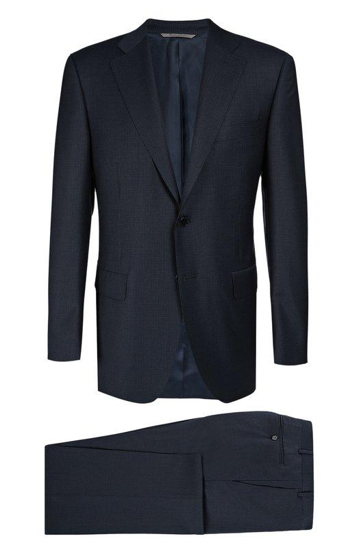 Шерстяной приталенный костюм CanaliКостюмы<br>Для производства темно-синего костюма с прямыми брюками мастера бренда использовали тонкую гладкую шерсть в мелкую клетку. Приталенный пиджак дополнен двумя прорезными карманами с клапанами. Модель вошла в коллекцию сезона осень-зима 2016 года.<br><br>Российский размер RU: 60<br>Пол: Мужской<br>Возраст: Взрослый<br>Размер производителя vendor: 58-R<br>Материал: Шерсть: 100%; Подкладка-купра: 100%;<br>Цвет: Темно-синий