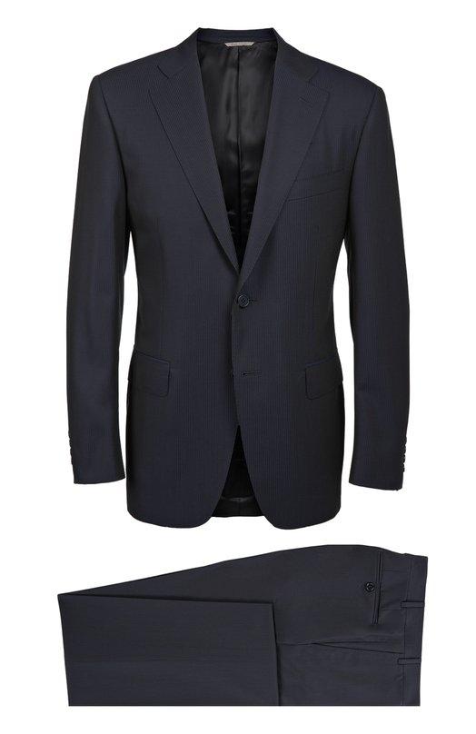 Шерстяной костюм в полоску CanaliКостюмы<br>В осенне-зимнюю коллекцию 2016 года вошел темно-синий костюм из тонкой шерсти в полоску. Приталенный пиджак с широкими лацканами и тремя карманами дополнен зауженными брюками со стрелками. Рекомендуем носить с голубой рубашкой, бордовым галстуком, белым платком-паше и черными дерби.<br><br>Российский размер RU: 50<br>Пол: Мужской<br>Возраст: Взрослый<br>Размер производителя vendor: 48-R<br>Материал: Шерсть: 100%; Подкладка-купра: 100%;<br>Цвет: Темно-синий