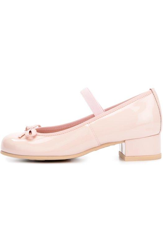 Лаковые туфли с бантом Pretty BallerinasТуфли<br><br><br>Российский размер RU: 25<br>Пол: Женский<br>Возраст: Детский<br>Размер производителя vendor: 25<br>Материал: Кожа натуральная: 100%; Стелька-кожа: 100%; Подошва-резина: 100%;<br>Цвет: Розовый