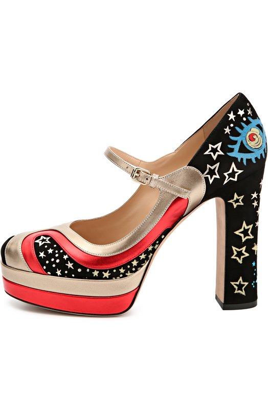 Замшевые туфли Astro Couture с кожаными вставками Valentino LW2S0A67/CUT