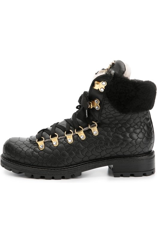 Кожаные ботинки с декором Roberto Cavalli 44931/28-35