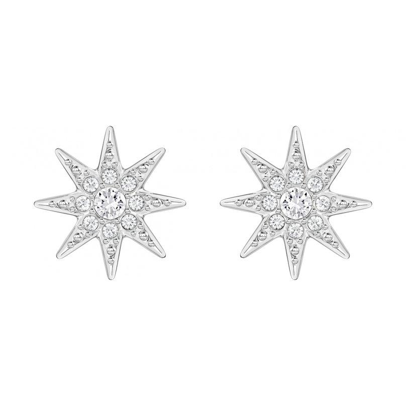 Серьги Fizzy SwarovskiСерьги<br>Серьги-пусеты Fizzy в виде звезд вошли в коллекцию сезона осень-зима 2016 года. Модель из легкого серебристого металла с родиевым покрытием, защищающим от потемнения, украшена прозрачными кристаллами, закрепленными в технике паве.<br><br>Пол: Женский<br>Возраст: Взрослый<br>Размер производителя vendor: NS<br>Материал: Металл  с родиевым покрытием; Кристаллы Сваровски;<br>Цвет: Серебряный
