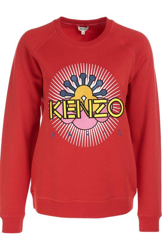 Хлопковый свитшот с вышивкой Nagai Star KenzoСвитеры<br>Красный свитшот вошел в осенне-зимнюю коллекцию 2016. Модель из плотного гладкого хлопка украшена вышитым цветком, созданным под вдохновением от работ японского художника Кейичи Танаами, и аппликацией в виде логотипа бренда, основанного Кензо Такада. Рекомендуем носить с мини-юбкой и кроссовками.<br><br>Российский размер RU: 42<br>Пол: Женский<br>Возраст: Взрослый<br>Размер производителя vendor: S<br>Материал: Хлопок: 100%;<br>Цвет: Красный