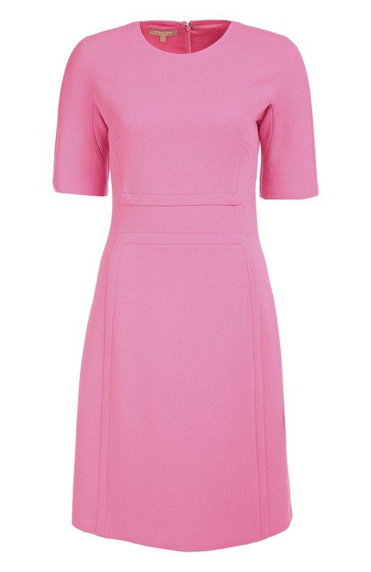 Шерстяное приталенное платье с коротким рукавом Michael KorsПлатья<br>Майкл Корс выбрал для изготовления розового приталенного платья с объемными швами на лифе и подоле эластичный буклированный креп из мягкой шерсти. Модель с круглым вырезом и короткими рукавами вошла в коллекцию сезона осень-зима 2016 года. Наши стилисты рекомендуют сочетать с черными туфлями.<br><br>Российский размер RU: 46<br>Пол: Женский<br>Возраст: Взрослый<br>Размер производителя vendor: 8<br>Материал: Шерсть: 99%; Подкладка-купра: 85%; Подкладка-эластан: 15%; Эластан: 1%;<br>Цвет: Розовый