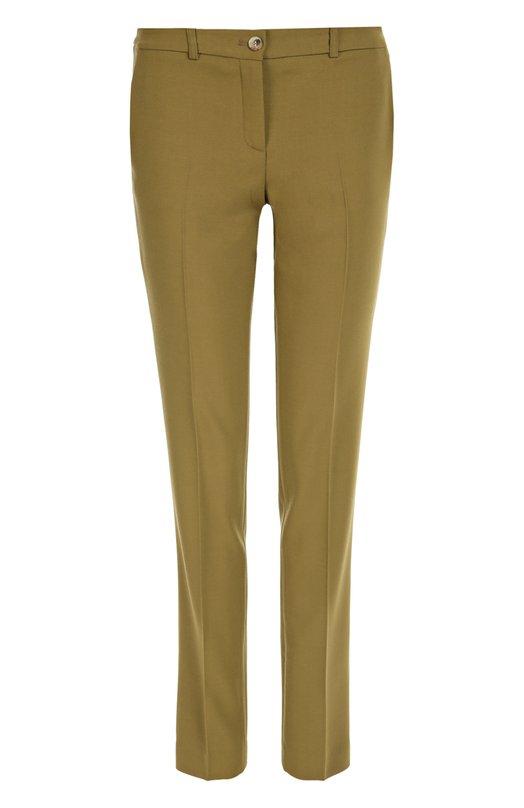 Шерстяные брюки прямого кроя со стрелками Michael KorsБрюки<br>Майкл Корс включил в осенне-зимнюю коллекцию 2016 года зауженные оливковые брюки со стрелками. Модель с посадкой на талии сшита из тонкого шерстяного твила. Рекомендуем носить с блузой и полупальто розового цвета, а также с черными ботильонами.<br><br>Российский размер RU: 40<br>Пол: Женский<br>Возраст: Взрослый<br>Размер производителя vendor: 6<br>Материал: Шерсть: 100%;<br>Цвет: Оливковый