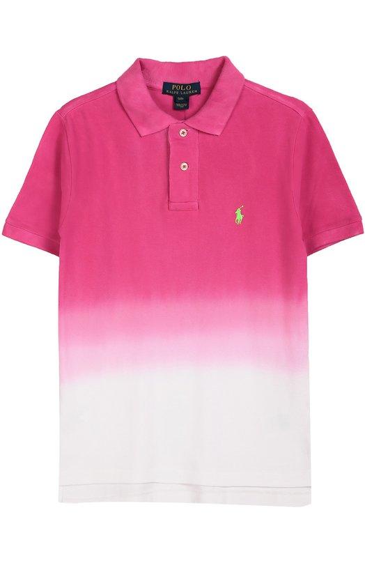 Хлопковое поло с короткими рукавами Polo Ralph LaurenПоло<br>Ральф Лорен обновил цветовую гамму рубашки-поло, выбрав для ее производства прочный хлопок пике розового цвета, окрашенный в технике деграде. Модель с короткими рукавами вошла в коллекцию сезона осень-зима 2016 года. На груди вышит небольшой логотип марки.<br><br>Размер Years: 16<br>Пол: Мужской<br>Возраст: Детский<br>Размер производителя vendor: 164-170cm<br>Материал: Хлопок: 100%;<br>Цвет: Розовый