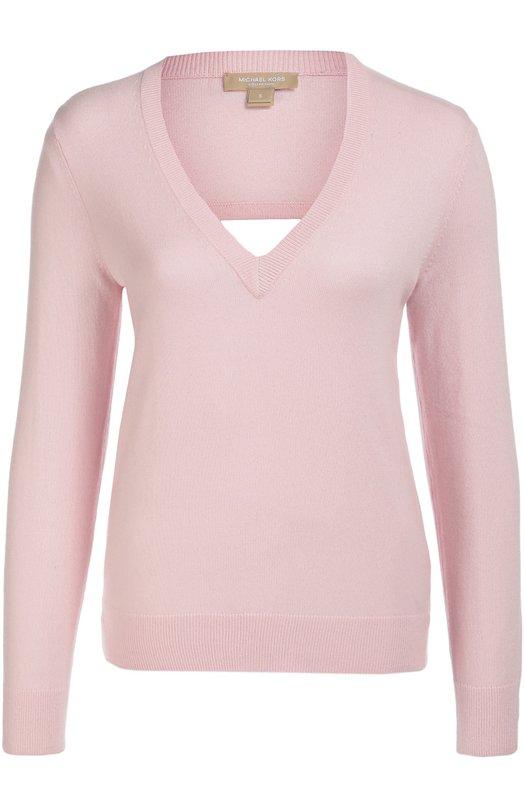 Кашемировый пуловер с открытой спиной Michael KorsСвитеры<br>Майкл Корс включил в осенне-зимнюю коллекцию 2016 года светло-розовый пуловер с длинными рукавами, V-образной горловиной и двумя вырезами сзади. Модель прямого силуэта связана из тонкой кашемировой пряжи. Советуем носить с брюками в тон, черными туфлями и серебристой сумкой.<br><br>Российский размер RU: 40<br>Пол: Женский<br>Возраст: Взрослый<br>Размер производителя vendor: XS<br>Материал: Кашемир: 100%;<br>Цвет: Светло-розовый