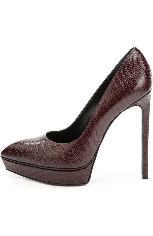 Кожаные туфли Janis на шпильке Saint LaurentТуфли<br>Бордовые туфли Janis с зауженным мысом, на высоком тонком каблуке сшиты мастерами марки вручную из матовой кожи с тиснением под крокодила. Модель из осенне-зимней коллекции бренда, основанного Ивом Сен-Лораном, дополнена небольшой платформой.<br><br>Российский размер RU: 41<br>Пол: Женский<br>Возраст: Взрослый<br>Размер производителя vendor: 41-5<br>Материал: Кожа натуральная: 100%; Стелька-кожа: 100%; Подошва-кожа: 100%;<br>Цвет: Бордовый