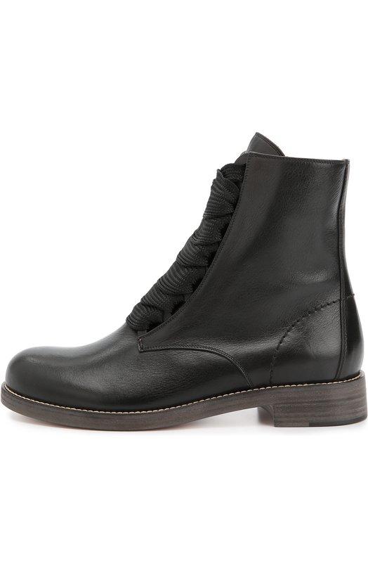 Кожаные ботинки на шнуровке Chloe CH25537/E42