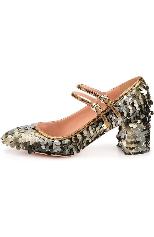 Туфли с пайетками на устойчивом каблуке Rochas R027116/PAILETTES TISSUE/0LD REPTIL KID