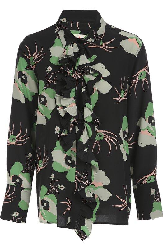 Шелковая блуза с цветочным принтом MarniБлузы<br>Блуза с длинными рукавами и жабо сшита из мягкого шелкового крепа с контрастным цветочным принтом. Консуэло Кастильони включила модель в коллекцию сезона осень-зима 2016 года. Нашим стилистам нравится сочетать с черной юбкой и бежевыми туфлями.<br><br>Российский размер RU: 42<br>Пол: Женский<br>Возраст: Взрослый<br>Размер производителя vendor: 40<br>Материал: Шелк: 100%;<br>Цвет: Зеленый
