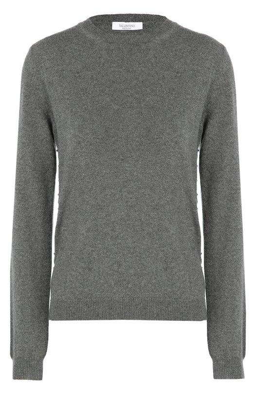 Купить Кашемировый пуловер с круглым вырезом и заклепками Valentino, LB3KC17M/2TD, Италия, Серый, Кашемир: 100%;