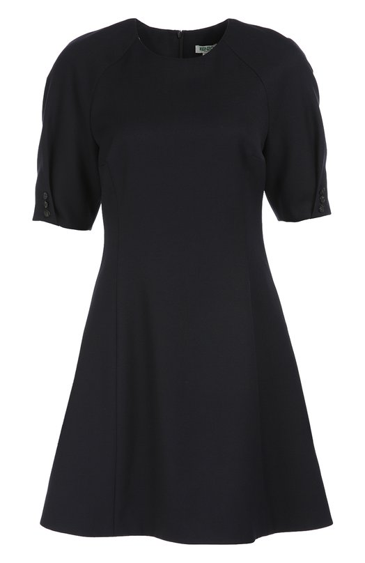 Шерстяное приталенное платье с коротким рукавом KenzoПлатья<br>Мастера бренда, основанного Кензо Такада, выполнили темно-синее приталенное платье из плотной тонкой шерсти. Модель с круглым вырезом вошла в коллекцию сезона осень-зима 2016 года. Короткие рукава дополнены асимметричной планкой с тремя пуговицами.<br><br>Российский размер RU: 44<br>Пол: Женский<br>Возраст: Взрослый<br>Размер производителя vendor: 38<br>Материал: Шерсть: 100%; Подкладка-полиэстер: 100%;<br>Цвет: Темно-синий