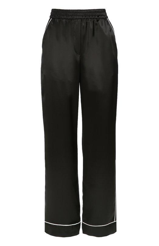 Шелковые брюки с контрастной отделкой Dolce &amp; GabbanaПижамы и сорочки<br>В осенне-зимнюю коллекцию 2016 года вошли черные брюки в пижамном стиле, с двумя боковыми карманами и эластичным поясом. Доменико Дольче и Стефано Габбана выбрали для создания модели с контрастной отделкой тонкий атласный шелк. Советуем сочетать с рубашкой и слиперами в тон.<br><br>Российский размер RU: 46<br>Пол: Женский<br>Возраст: Взрослый<br>Размер производителя vendor: 44<br>Материал: Шелк: 100%;<br>Цвет: Черный