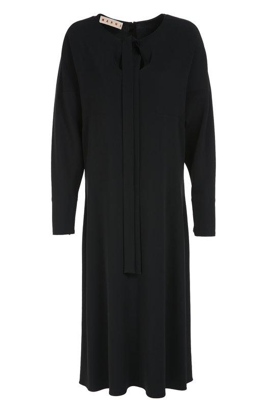 Платье-миди свободного кроя с воротником аскот Marni ABMAU22J00TV294