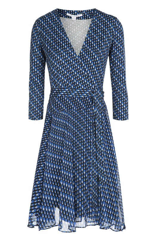 Платье с запахом Irina из эластичного шелка и шифона Diane Von FurstenbergПлатья<br>Мини-платье с запахом, длинным поясом-лентой и рукавами 3/4 вошло в осенне-зимнюю коллекцию марки, основанной Дианой фон Фюстенберг. Модель Irina сшита из двух видов черной ткани с сине-белым принтом: мягкий шелковый джерси — для лифа, струящийся шифон — для расклешенного подола.<br><br>Российский размер RU: 40<br>Пол: Женский<br>Возраст: Взрослый<br>Размер производителя vendor: 6<br>Материал: Подкладка-полиэстер: 97%; Подкладка-спандекс: 3%; Шелк: 100%;<br>Цвет: Синий