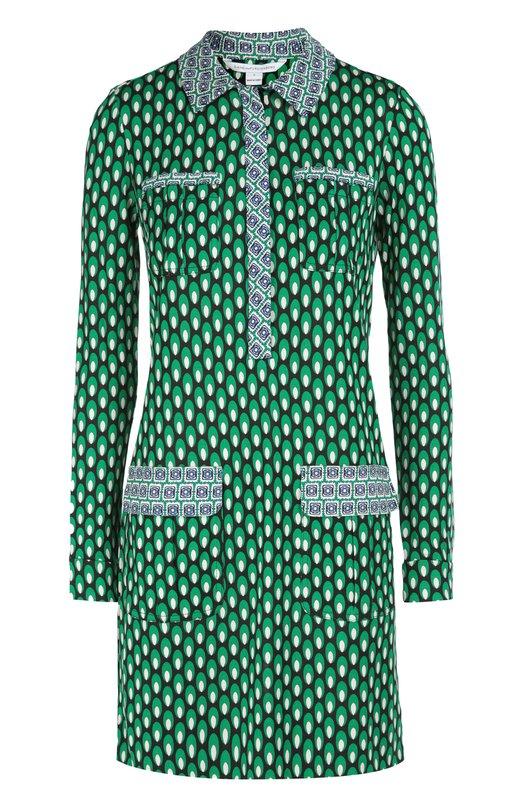 Платье-рубашка Denny из эластичного шелка с принтом Diane Von FurstenbergПлатья<br>Диана фон Фюстенберг включила в осенне-зимнюю коллекцию 2016 года короткое платье-рубашку с четырьмя накладными карманами. Модель сшита из тонкого текстиля с галстучным принтом, который был разработан совместно с компанией E. Marinella, занимающейся производством шелковых мужских аксессуаров.<br><br>Российский размер RU: 40<br>Пол: Женский<br>Возраст: Взрослый<br>Размер производителя vendor: 2<br>Материал: Шелк: 100%;<br>Цвет: Зеленый