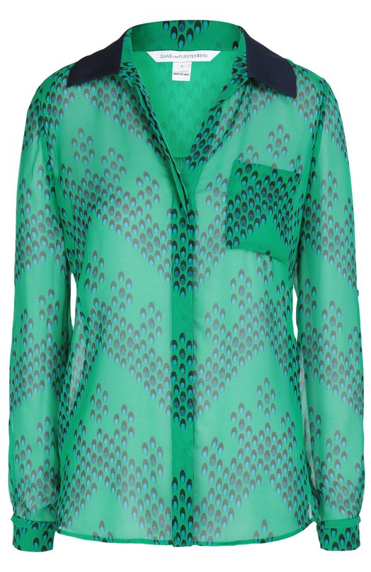 Шелковая блуза Lorelei Two с принтом Diane Von FurstenbergБлузы<br>Диана фон Фюстенберг включила в коллекцию сезона осень-зима 2016 года прямую блузу с удлиненной спинкой. Модель Lorelei Two сшита из зеленого струящегося шелка с контрастным геометрическим принтом, однотонный отложной воротник — из такой же ткани синего цвета.<br><br>Российский размер RU: 38<br>Пол: Женский<br>Возраст: Взрослый<br>Размер производителя vendor: 0<br>Материал: Отделка-шелк: 95%; Отделка-спандекс: 5%; Шелк: 100%;<br>Цвет: Зеленый