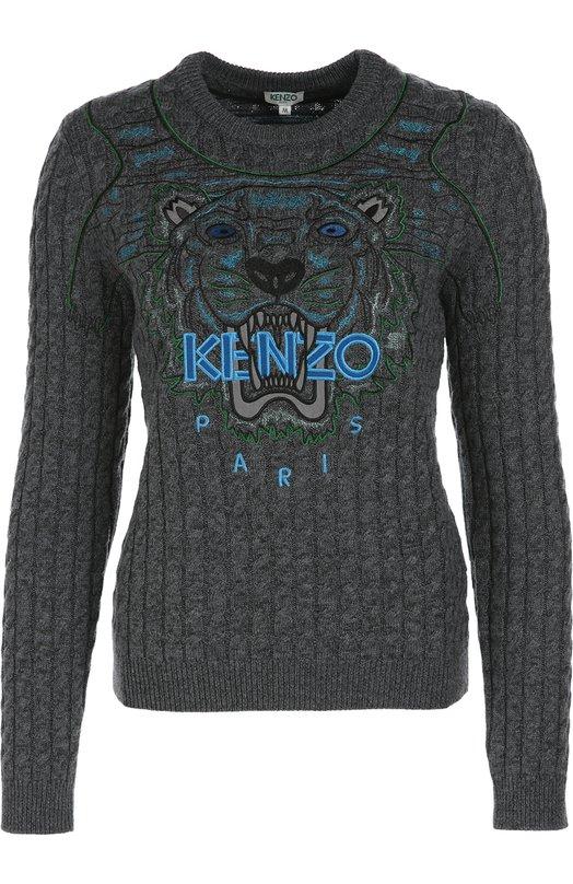 Пуловер фактурной вязки с вышивкой KenzoСвитеры<br>Серый свитер из осенне-зимней коллекции 2016 года украшен вышивкой с изображением головы тигра. Впервые дизайнеры марки, основанной Кензо Такада, использовали этот мотив в 2012 году. С тех пор он стал знаковым для бренда. Модель с длинным рукавом и круглым вырезом создана из тонкой шерстяной пряжи.<br><br>Российский размер RU: 48<br>Пол: Женский<br>Возраст: Взрослый<br>Размер производителя vendor: L<br>Материал: Шерсть: 66%; Хлопок: 34%;<br>Цвет: Серый