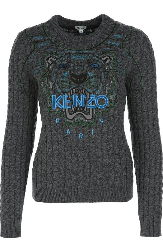Пуловер фактурной вязки с вышивкой Kenzo F662T04373XA