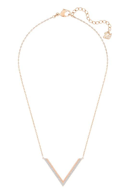 Ожерелье Delta SwarovskiПодвески<br>Аксессуар из ювелирного сплава, покрытого розовым золотом, вошел в коллекцию сезона осень-зима 2016 года. Ожерелье Delta с тонкой цепочкой якорного плетения дополнено V-образным элементом, украшенным прозрачным кристальным паве.<br><br>Пол: Женский<br>Возраст: Взрослый<br>Размер производителя vendor: NS<br>Материал: Металл с покрытием из розового золота; Кристаллы Сваровски;<br>Цвет: Золотой