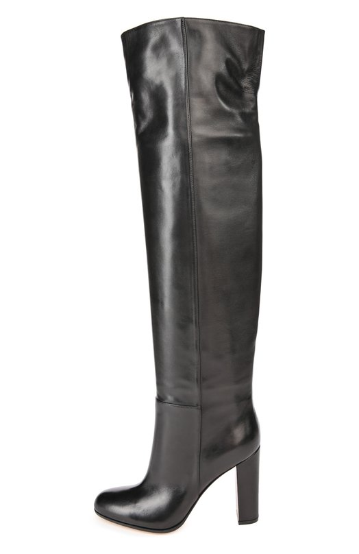 Кожаные ботфорты на устойчивом каблуке Gianvito RossiСапоги<br>Джанвито Росси включил высокие ботфорты на устойчивом высоком каблуке, сшитые вручную, в коллекцию сезона осень-зима 2016 года. Для производства модели с круглым мысом мастера бренда использовали матовую гладкую кожу черного цвета. Сзади на голенище – небольшой разрез.<br><br>Российский размер RU: 40<br>Пол: Женский<br>Возраст: Взрослый<br>Размер производителя vendor: 40-5<br>Материал: Кожа натуральная: 100%; Стелька-кожа: 100%; Подошва-кожа: 100%; Подошва-резина: 100%;<br>Цвет: Черный