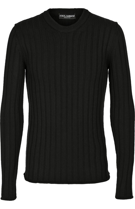 Шерстяной джемпер фактурной вязки Dolce &amp; GabbanaСвитеры<br><br><br>Российский размер RU: 52<br>Пол: Мужской<br>Возраст: Взрослый<br>Размер производителя vendor: 50<br>Материал: Шерсть: 100%;<br>Цвет: Черный