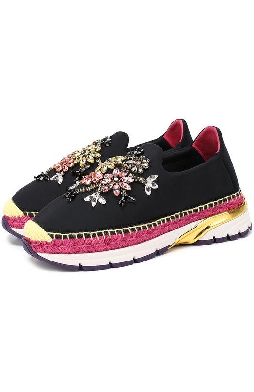 Текстильные кроссовки с декором Dolce & Gabbana 0112/CK0088/AD663