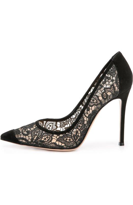 Замшевые туфли Elodie с кружевом на шпильке Gianvito Rossi G20746/SUEDE+S0LANGE