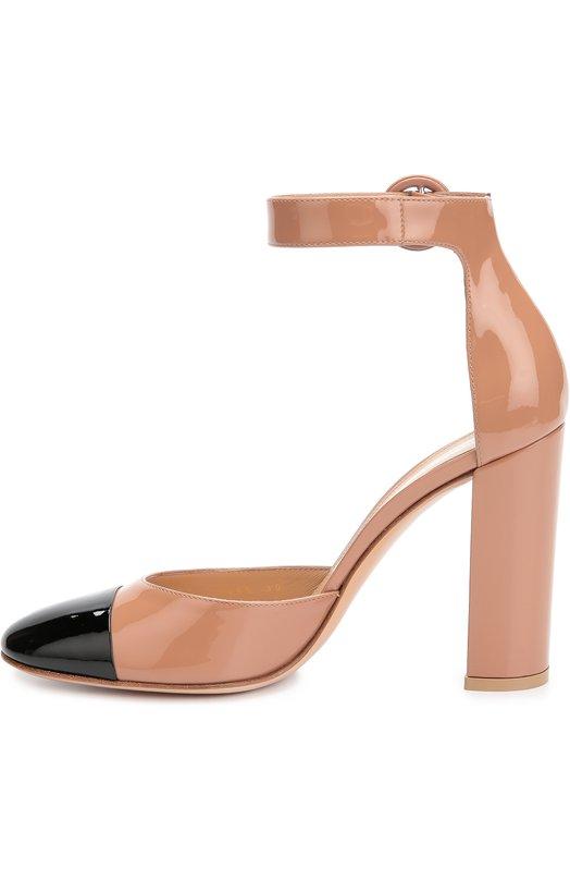Лаковые туфли Greta на устойчивом каблуке Gianvito RossiТуфли<br>Джанвито Росси включил бежевые туфли с контрастным черным мысом, на прямом высоком каблуке в коллекцию сезона осень-зима 2016 года. Для создания модели Greta мастера бренда использовали гладкую лакированную кожу. Обувь фиксируется на щиколотке ремешком с круглой пряжкой, характерной для обуви марки.<br><br>Российский размер RU: 36<br>Пол: Женский<br>Возраст: Взрослый<br>Размер производителя vendor: 36-5<br>Материал: Кожа натуральная: 100%; Стелька-кожа: 100%; Подошва-кожа: 100%;<br>Цвет: Бежевый