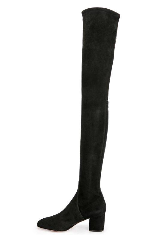 Замшевые ботфорты Stretch на устойчивом каблуке ValentinoСапоги<br>Черные ботфорты Stretch из мягкой бархатистой замши черного цвета вошли в осенне-зимнюю коллекцию бренда, основанного Валентино Гаравани. Модель с круглым мысом, на устойчивом каблуке средней высоты застегивается сзади на молнию.<br><br>Российский размер RU: 37<br>Пол: Женский<br>Возраст: Взрослый<br>Размер производителя vendor: 37-5<br>Материал: Стелька-кожа: 100%; Подошва-кожа: 100%; Замша натуральная: 100%;<br>Цвет: Черный