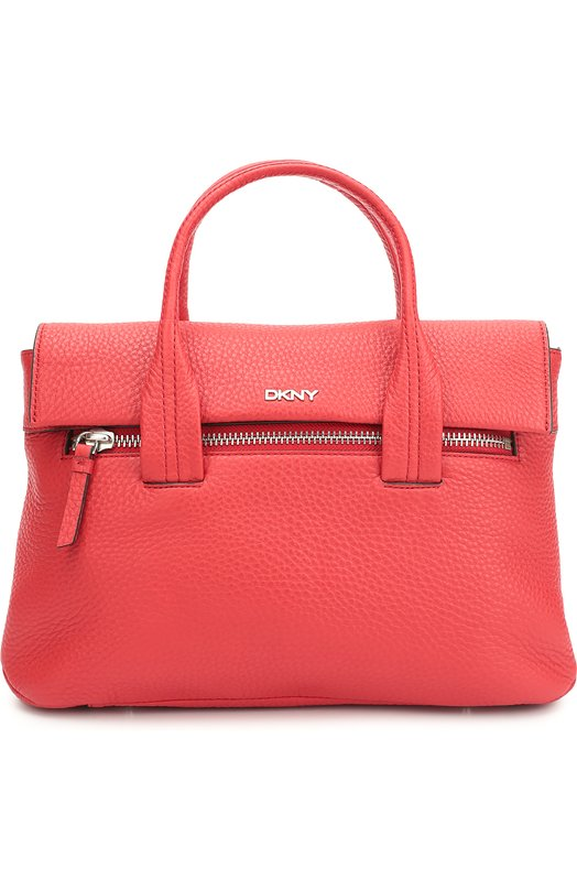 Кожаная сумка-тоут с карманом на молнии DKNYЖенские сумки<br><br><br>Пол: Женский<br>Возраст: Взрослый<br>Размер производителя vendor: NS<br>Материал: Кожа натуральная: 100%;<br>Цвет: Красный