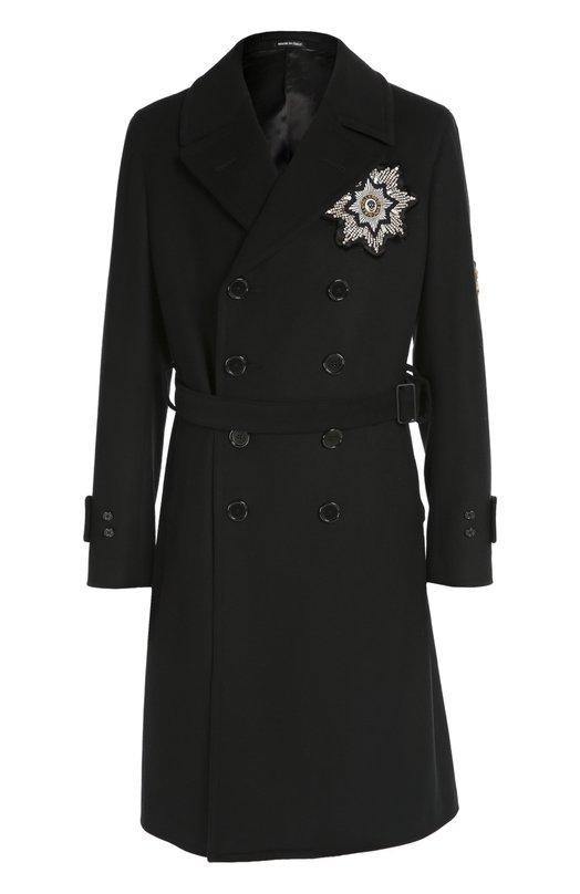 Двубортное пальто из смеси шерсти и кашемира с нашивками Alexander McQueen 428702/QHZ55
