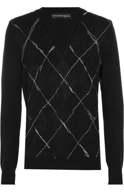 Джемпер из смеси шерсти и шелка с контрастной прострочкой Alexander McQueen 429883/Q1VXK