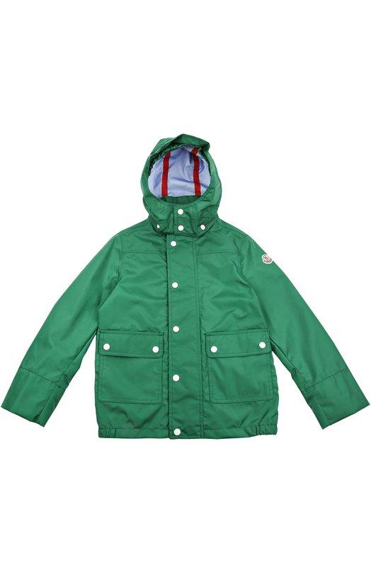 Непромокаемая куртка с капюшоном Moncler EnfantВерхняя одежда<br><br><br>Размер Years: 2<br>Пол: Мужской<br>Возраст: Детский<br>Размер производителя vendor: 92-98cm<br>Материал: Полиамид: 85%; Полиэстер: 15%;<br>Цвет: Зеленый