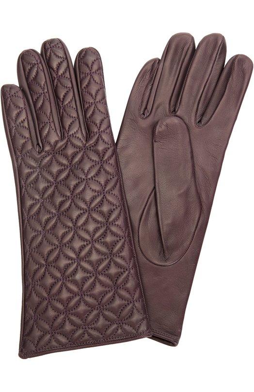 Кожаные перчатки с прострочкой Sermoneta GlovesПерчатки<br>Удлиненные перчатки сшиты из гладкой кожи наппа с матовым блеском, прошедшей специальную процедуру окрашивания, создающей глубокий и равномерный цвет. Подкладка выполнена из мягкого шелка. Модель вошла в коллекцию сезона осень-зима 2016 года. Лицевая сторона прошита декоративной строчкой.<br><br>Российский размер RU: 7<br>Пол: Женский<br>Возраст: Взрослый<br>Размер производителя vendor: 7<br>Материал: Подкладка-шелк: 100%; Кожа натуральная: 100%;<br>Цвет: Темно-фиолетовый
