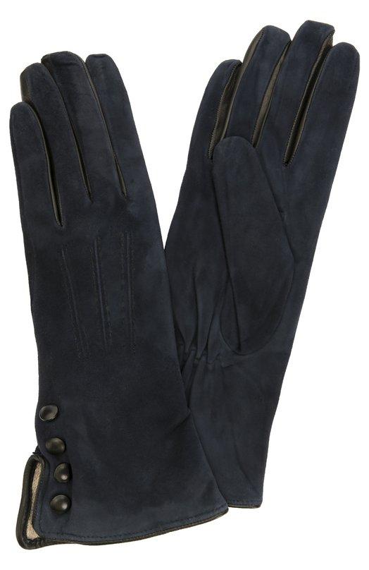 Замшевые перчатки с отделкой из кожи Sermoneta Gloves SG02/0806/SUEDE/CASH
