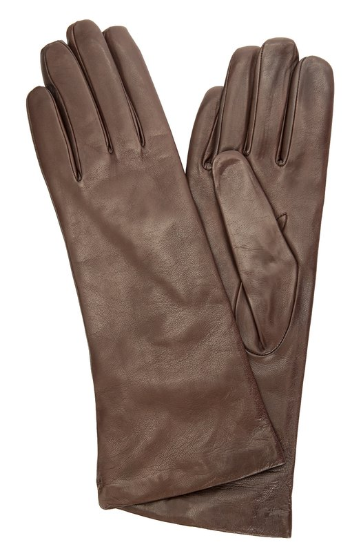 Кожаные перчатки с подкладкой из кашемира Sermoneta GlovesПерчатки<br>Удлиненные темно-коричневые перчатки вошли коллекцию сезона осень-зима 2016 года. Мастера бренда сшили модель из обработанной вручную гладкой кожи с матовым блеском, прошедшей специальную процедуру окрашивания. Аксессуар дополнен тонкой подкладкой из мягкого кашемира.<br><br>Российский размер RU: 6<br>Пол: Женский<br>Возраст: Взрослый<br>Размер производителя vendor: 6-5<br>Материал: Кожа натуральная: 100%; Подкладка-кашемир: 100%;<br>Цвет: Темно-коричневый
