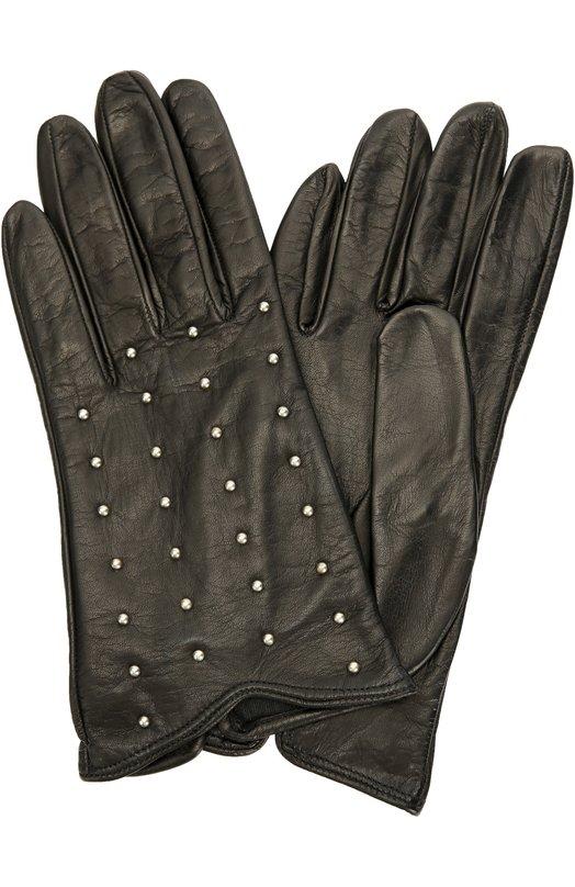Кожаные перчатки с заклепками Sermoneta GlovesПерчатки<br>Для изготовления черных перчаток мастера бренда, основанного Джорджио Сермонета, использовали гладкую матовую кожу наппа. Модель из коллекции сезона осень-зима 2016 года декорирована серебристыми металлическими заклепками.<br><br>Российский размер RU: 7<br>Пол: Женский<br>Возраст: Взрослый<br>Размер производителя vendor: 7-5<br>Материал: Подкладка-шелк: 100%; Кожа натуральная: 100%;<br>Цвет: Черный