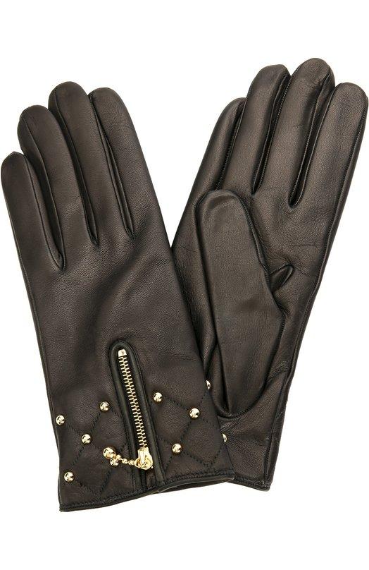 Кожаные перчатки с молниями и заклепками Sermoneta GlovesПерчатки<br>Черные перчатки, декорированные металлическими заклепками и молнией, вошли в осенне-зимнюю коллекцию 2016 года. Модель выполнена из ультрамягкой кожи, выделанной вручную. Для плотной фиксации на запястье аксессуар дополнен вшитой резинкой.<br><br>Российский размер RU: 7<br>Пол: Женский<br>Возраст: Взрослый<br>Размер производителя vendor: 7-5<br>Материал: Кожа натуральная: 100%; Подкладка-кашемир: 100%;<br>Цвет: Черный